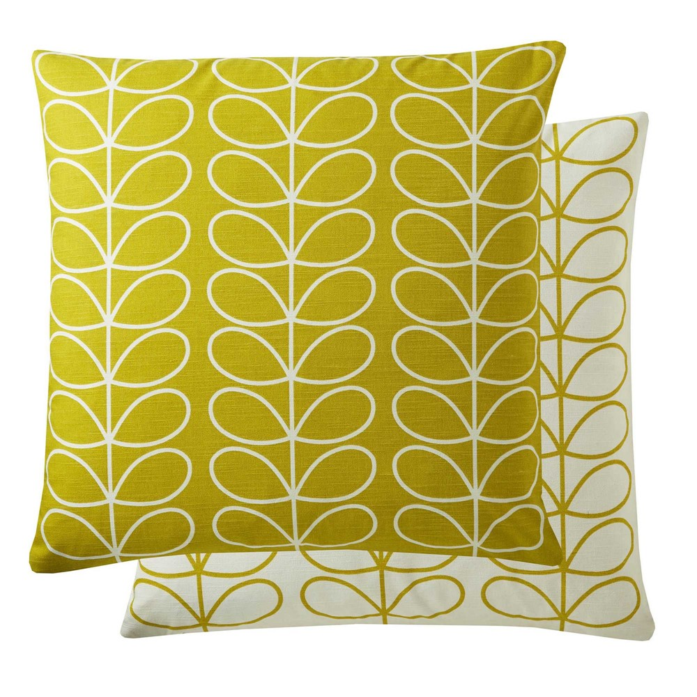 Orla Kiely yellow stem cushions in reversible print on a white background