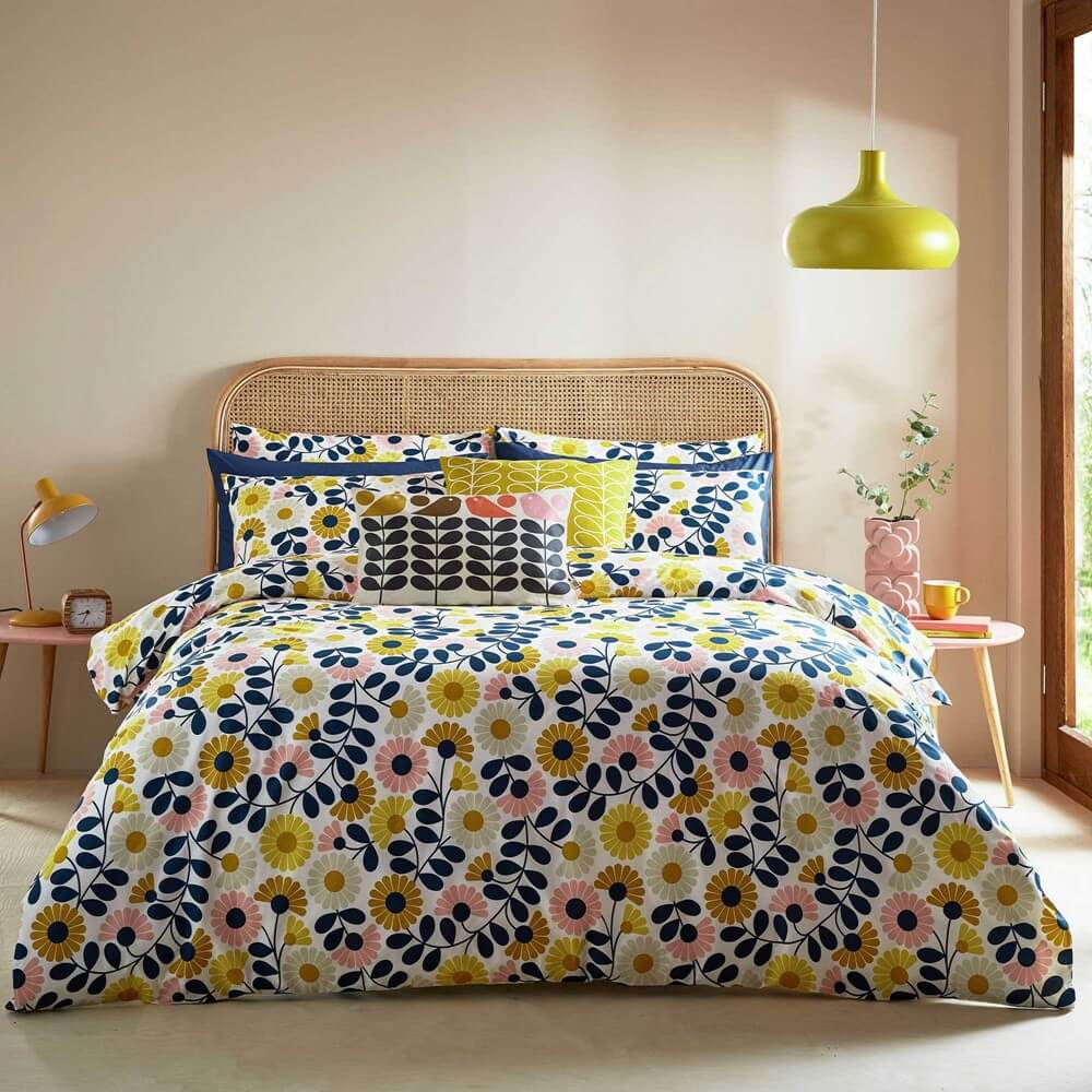 orla kiely autumnal floral bedding in a light and modern bedroom