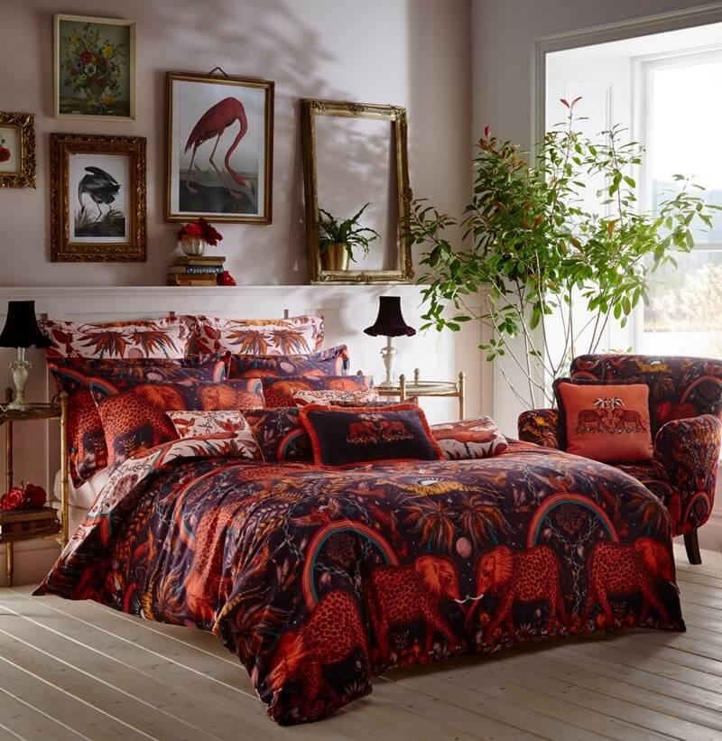 zambezi red print bedding in a modern bedroom set up