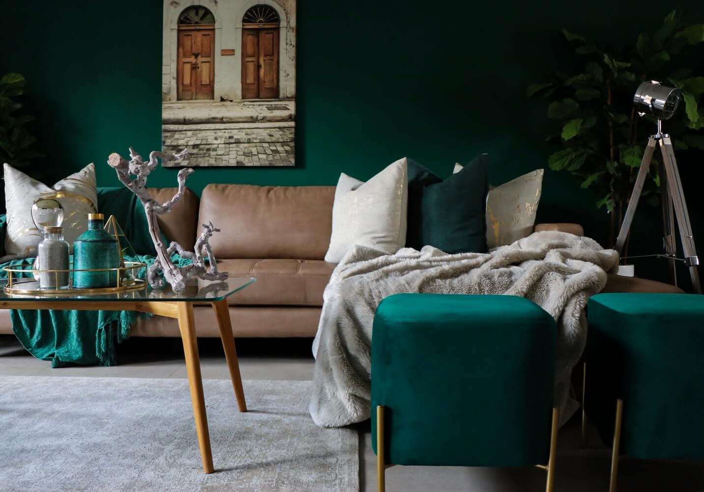 a dark green autumnal interior trends living room