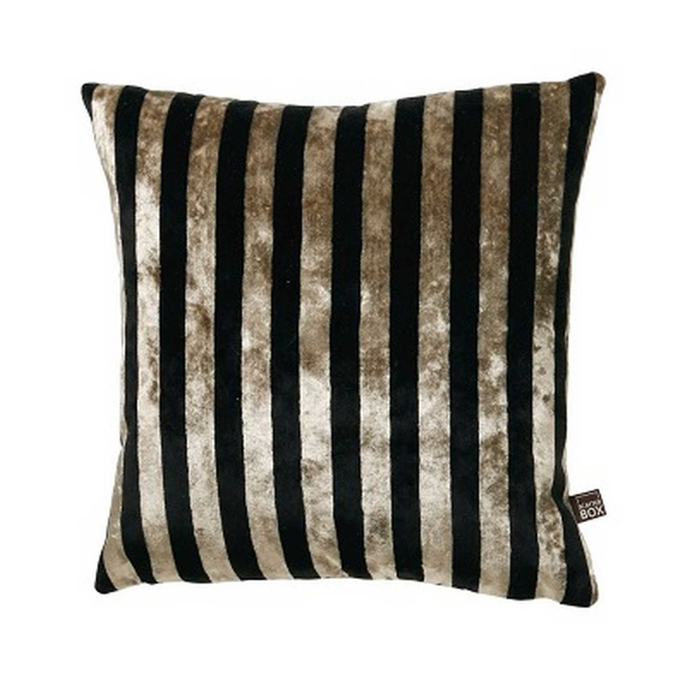 the harley striped velvet cushion in gold and black on a white cut out background