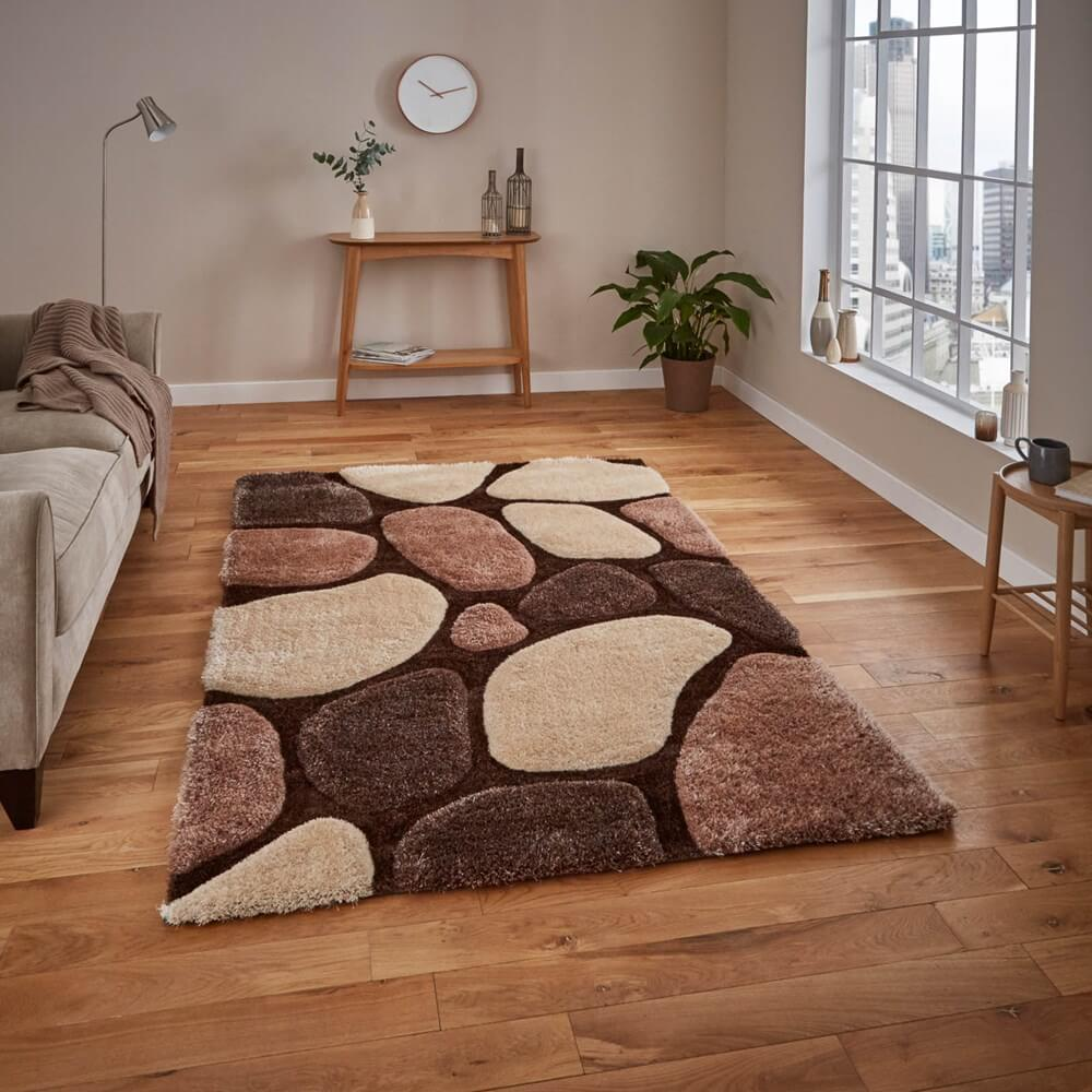 beige brown noble house rug in abstract patterns in a living room